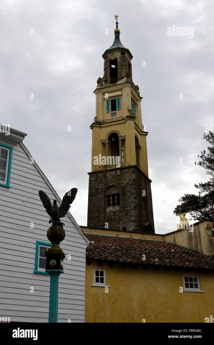 Bell tower at Portmeirion, the village in North Wales that featured as 'The Village' in 'The 'Prisoner' - Stock Image