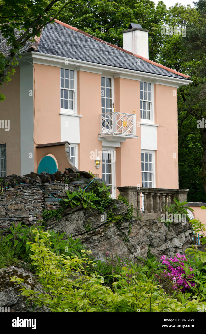 House at Portmeirion, the village in North Wales that featured as 'The Village' in 'The 'Prisoner' - Stock Image