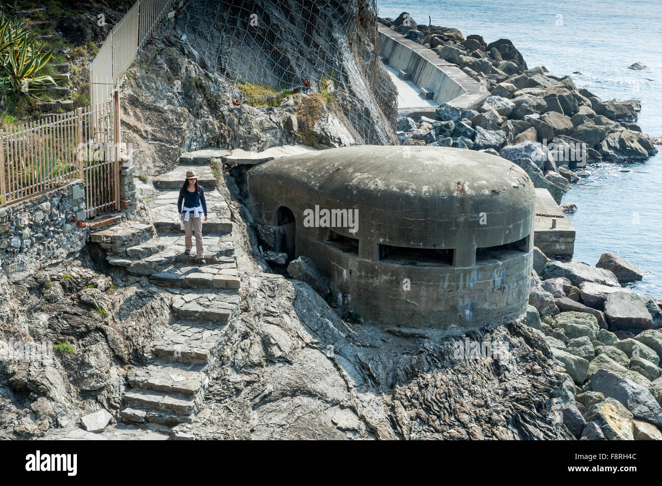 World War 2 bunker or pill box along the coastline of Cinque Terra,Liguria,Italy. - Stock Image
