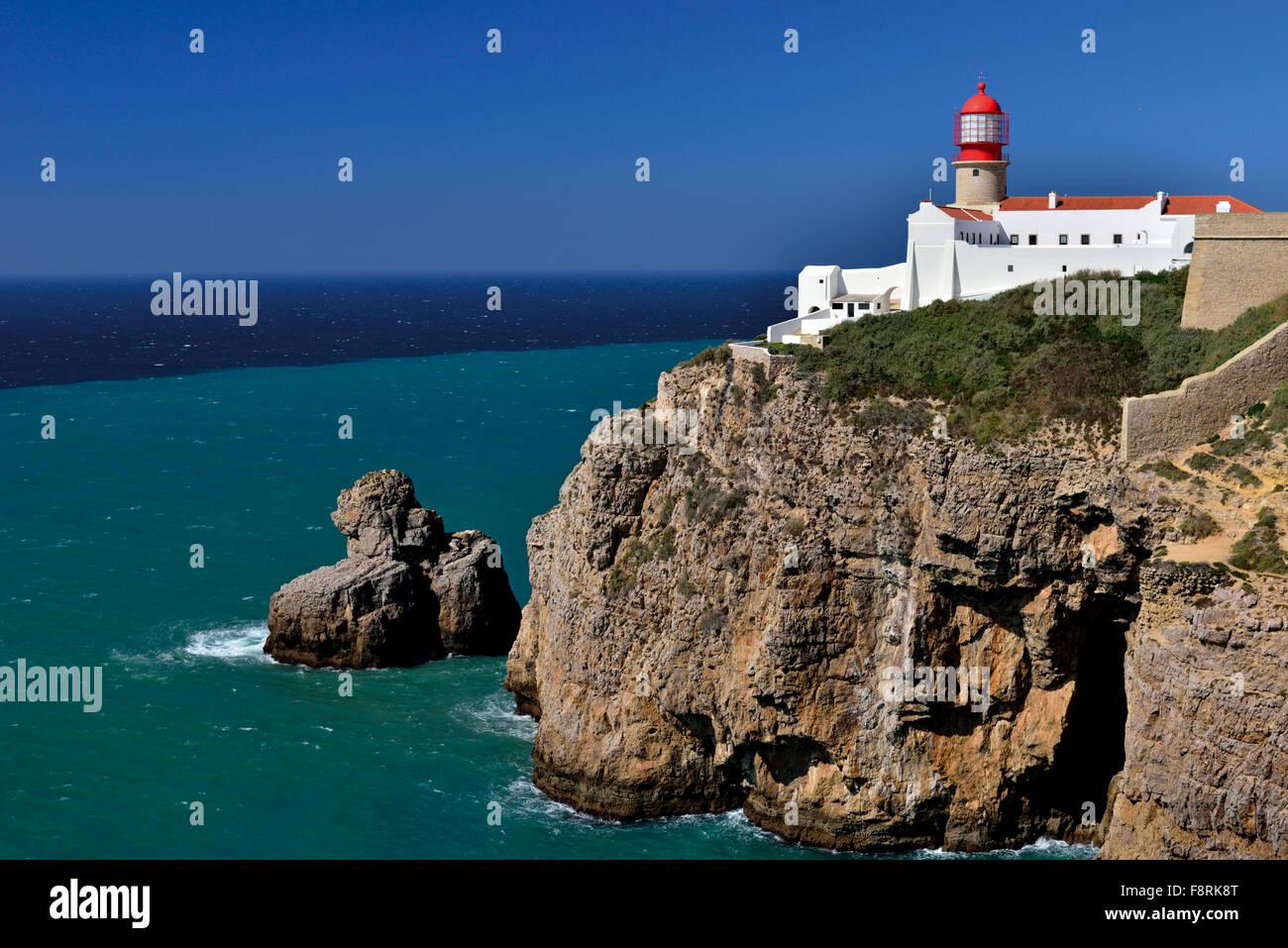 Portugal, Algarve: Lighthouse and Cape Saint Vincent Stock Photo