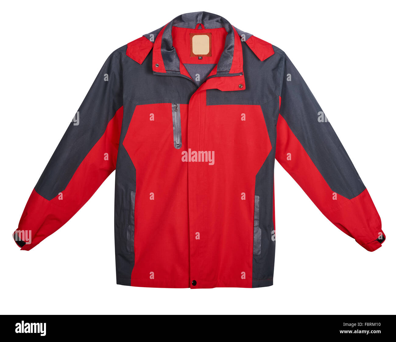 Red men's jacket outdoors. Isolated on white background - Stock Image