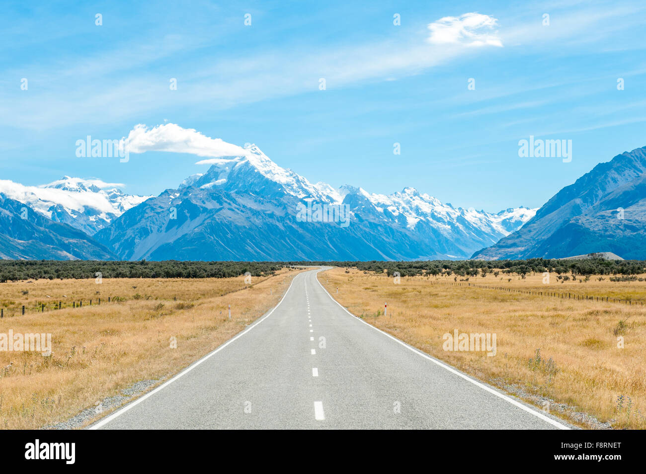 Mackenzie country and Mount Cook, South Island, New Zealand - Stock Image
