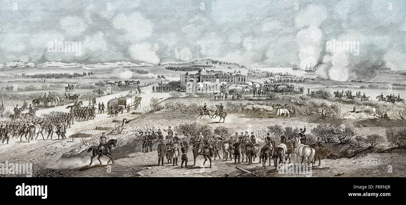 The Battle of Dybbøl, a battle of the Second Schleswig War, 1864 - Stock Image