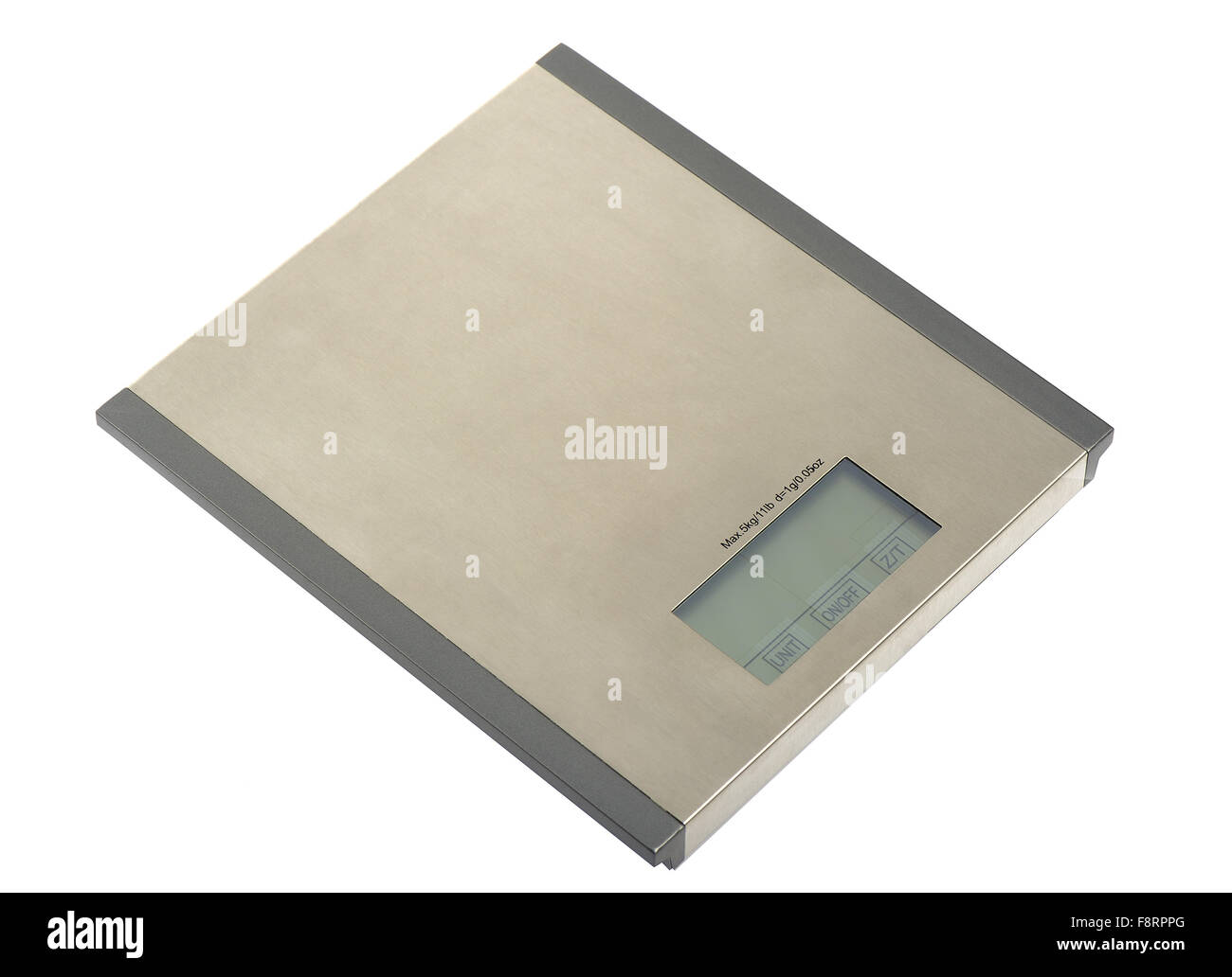 Metal electronic scales on a white background - Stock Image