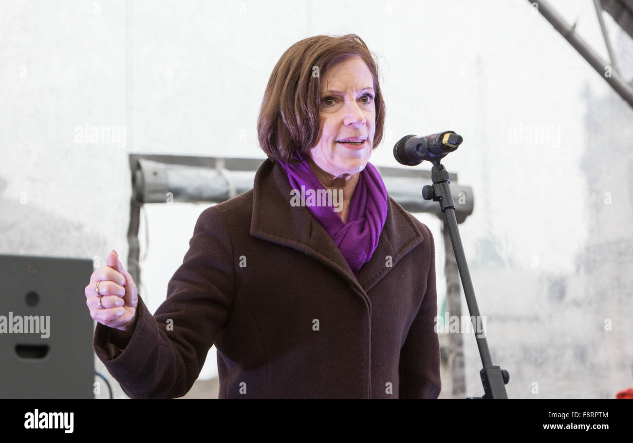 Sue Lloyd Roberts,Journalist and reporter,at the 1 Billion Rising event supporting mass action to end violence against - Stock Image