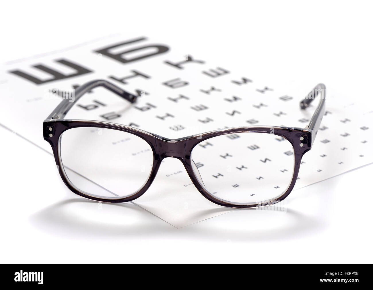 Reading Eyeglasses And Eye Chart Close Up On A Light Background