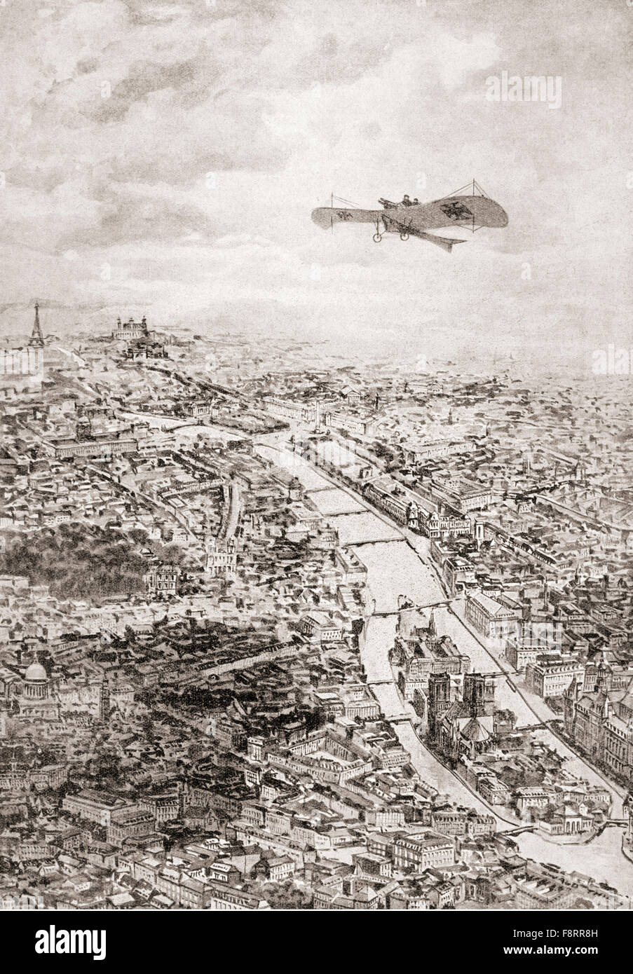 A German aviator flying over Paris, France during WWI. - Stock Image