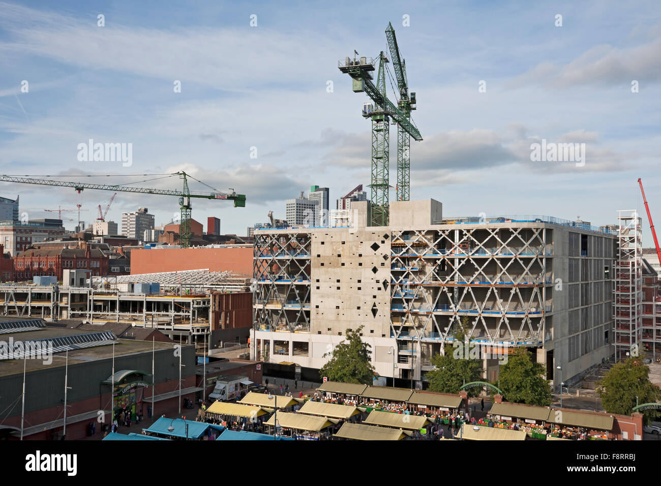High tower cranes on Victoria Gate construction site Leeds City Centre West Yorkshire England UK United Kingdom - Stock Image