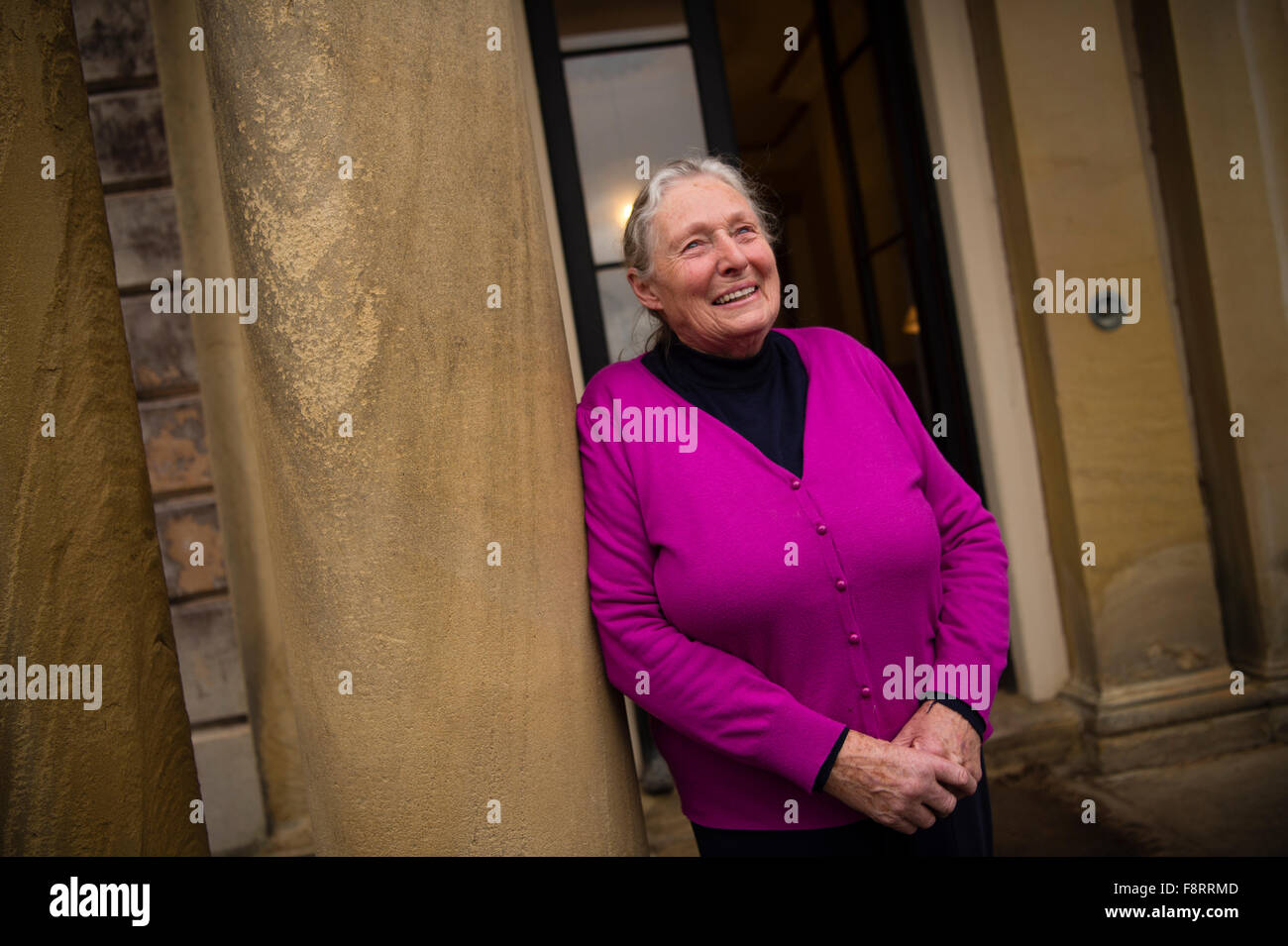 82 year old CHRISTINE CHURCHILL at GARTHMYL HALL near Newtown in mid Wales, where as a 5 year old child she sent - Stock Image