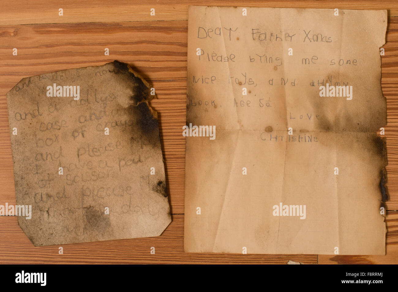 The letters  written by 5 year old CHRISTINE CHURCHILL  to Father Christmas when she was a child at at GARTHMYL - Stock Image