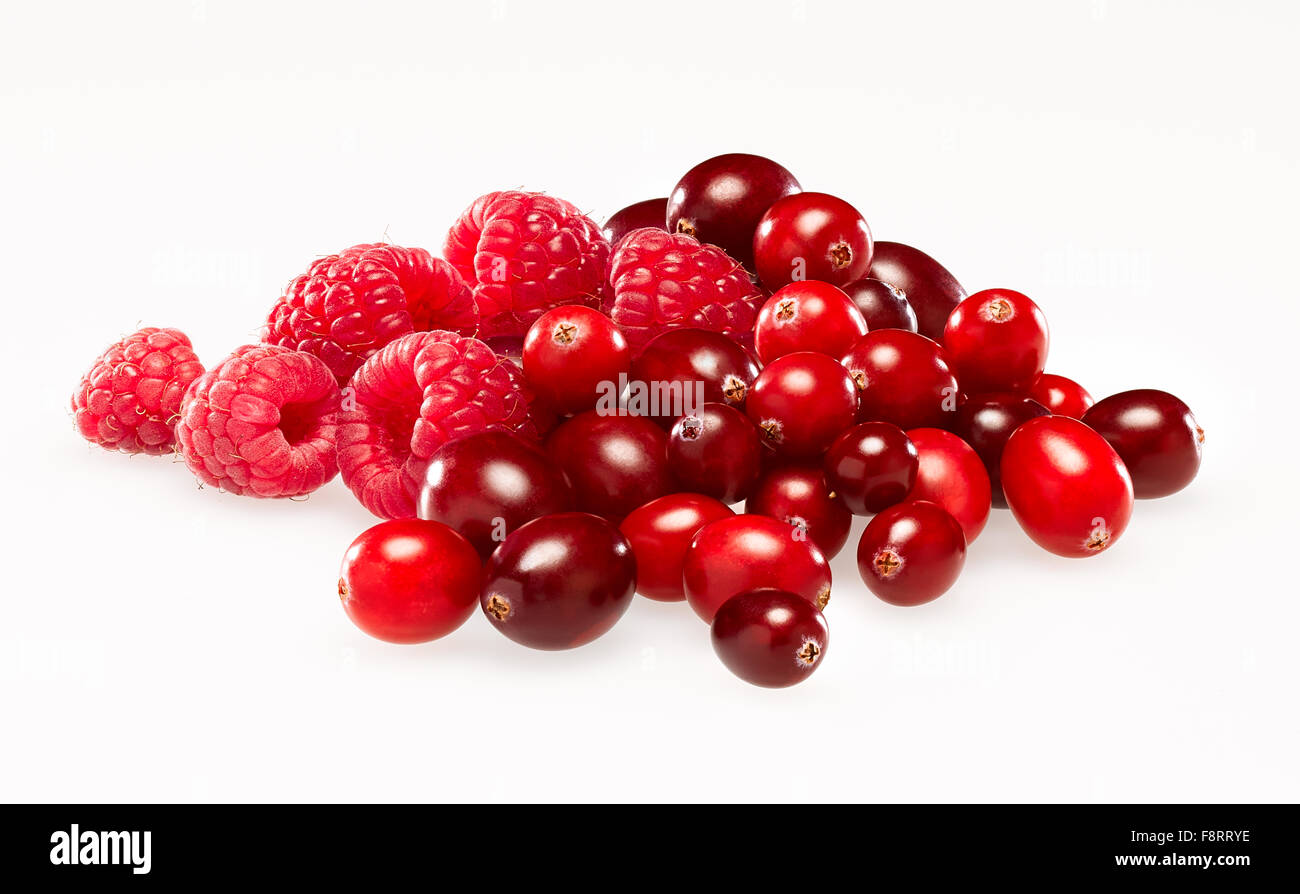 cranberries and raspberries - Stock Image