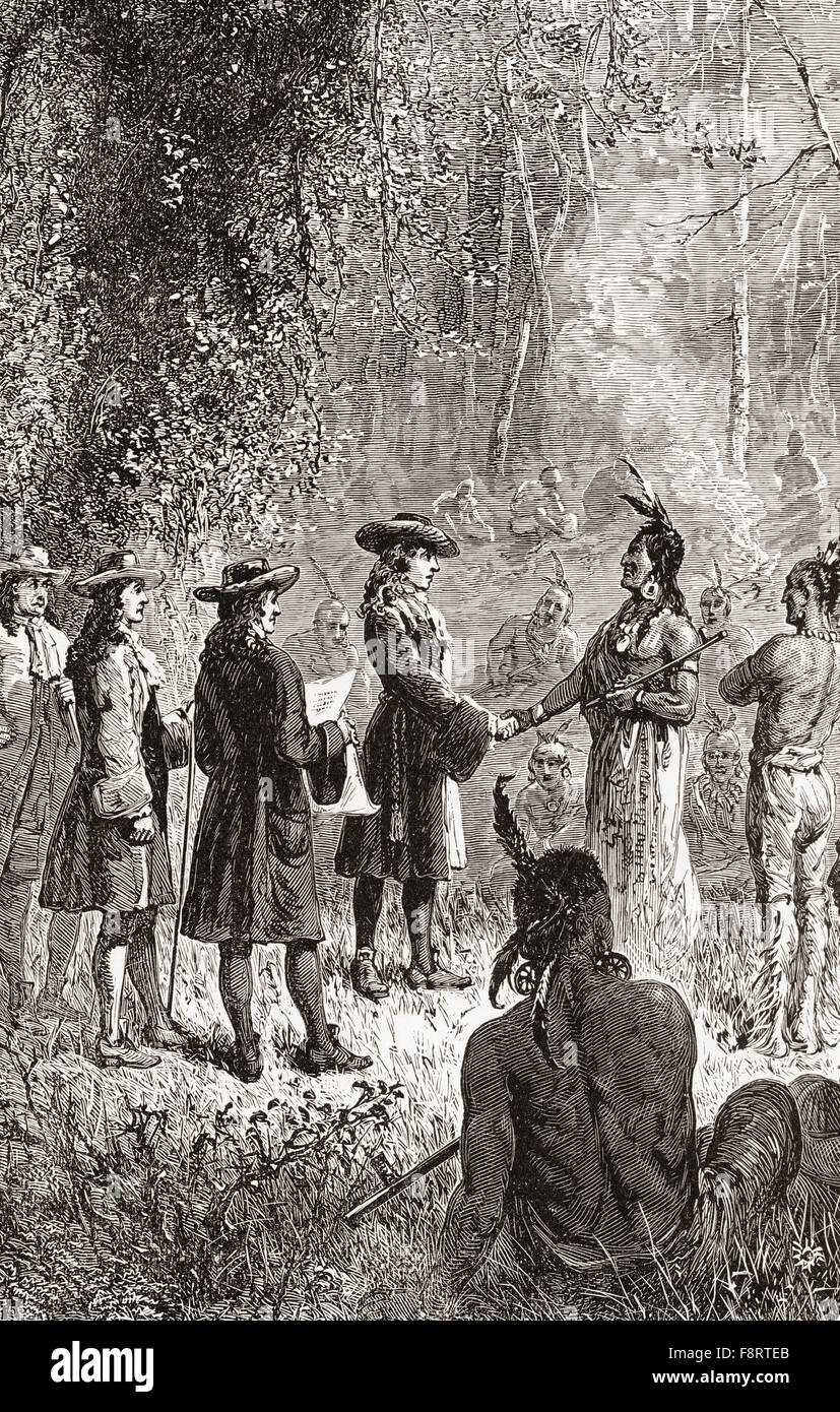William Penn's treaty with the Lenape Native American Indians in 1681. William Penn, 1644 - 1718.  English real Stock Photo