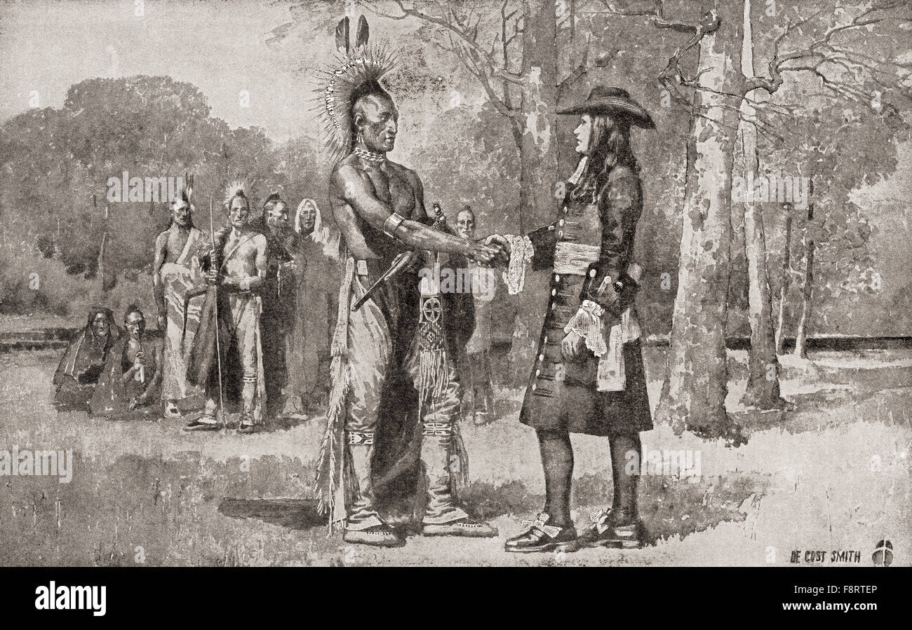 William Penn arrives in Upland, Chester, Province of Pennsylvania in 1682.  William Penn, 1644 - 1718.  English Stock Photo