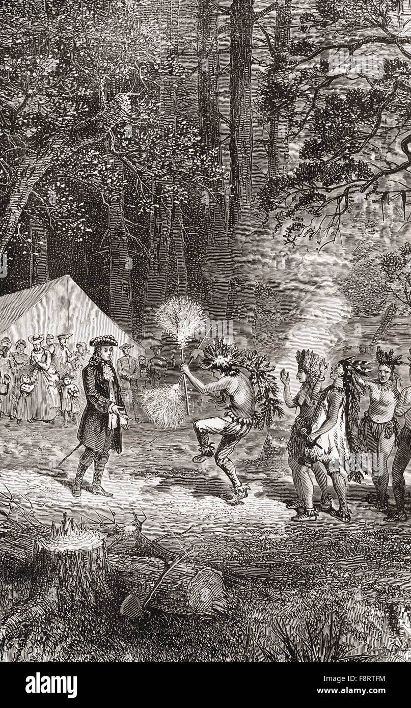 James Oglethorpe, accompanied by settlers, arrives in 1732, at Yamacraw  Bluff, Savannah, Georgia to establish a camp with the help of a local  elderly Indian ...