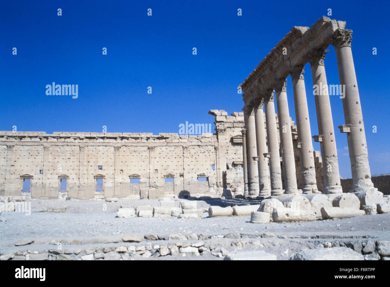 Part of the ruins at Palmyra in Syria. Palmyra is an ancient Semitic city in present-day Homs Governorate, Syria. Stock Photo