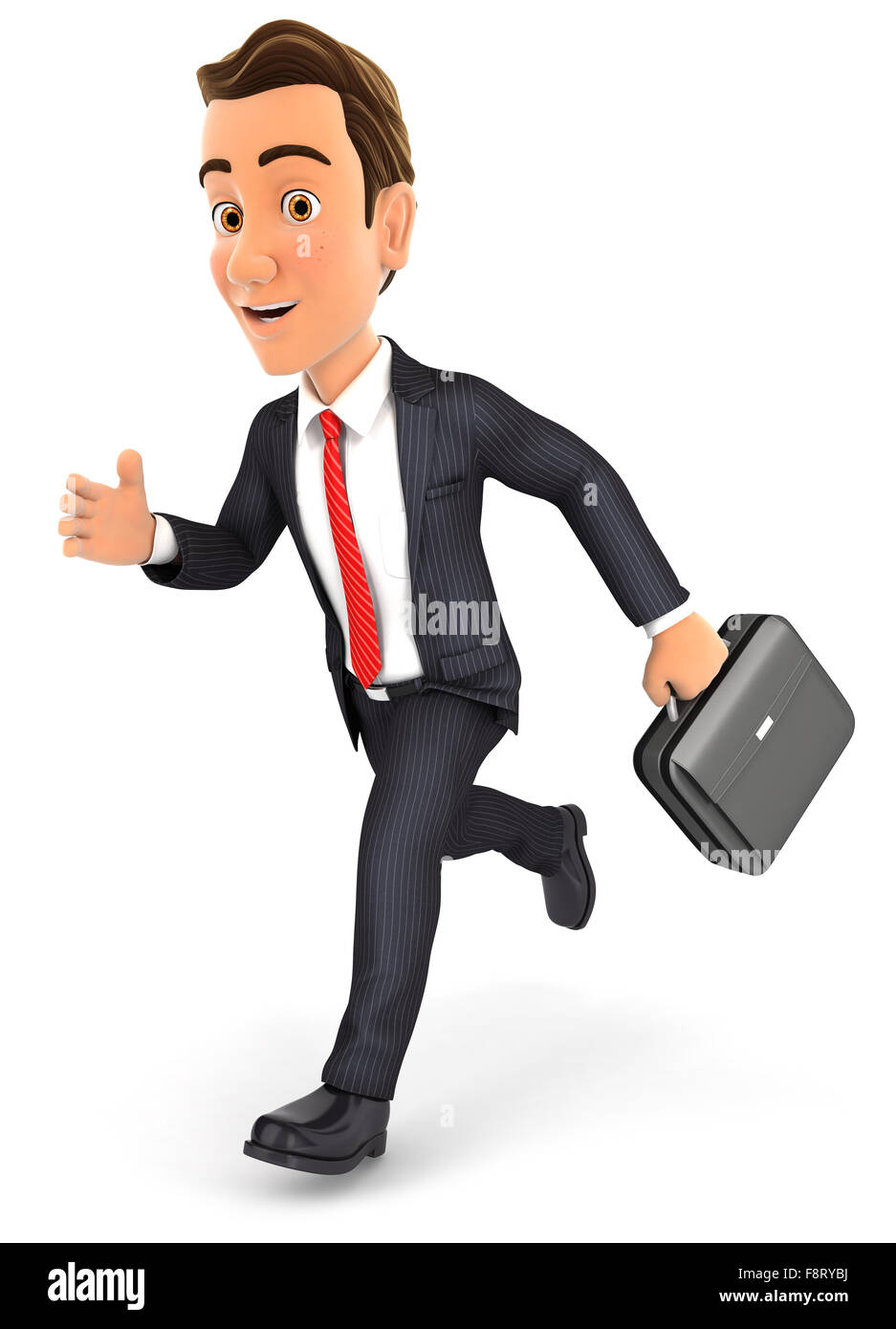 3d businessman running with briefcase, isolated white background Stock Photo