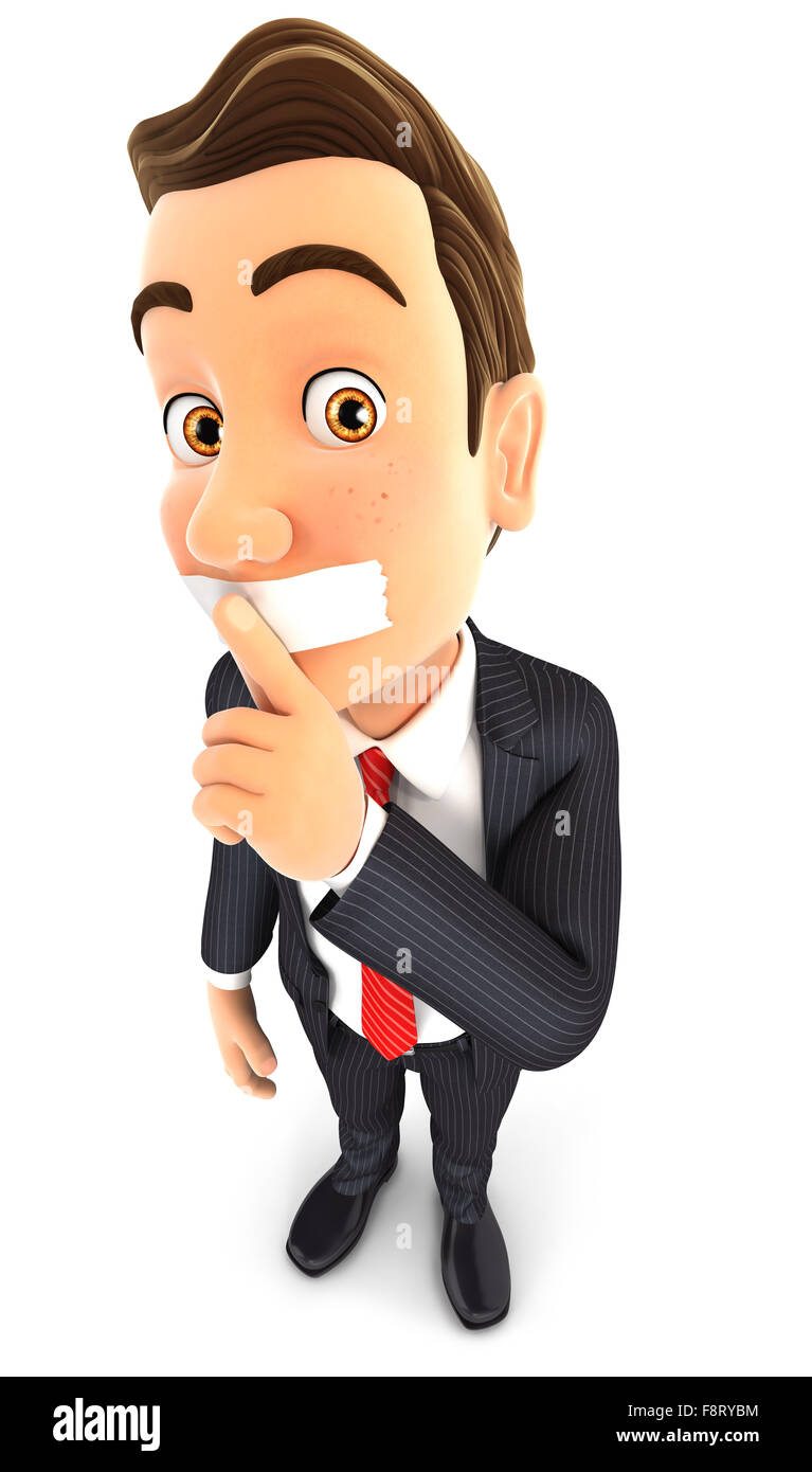 3d businessman silence gesture, isolated white background Stock Photo