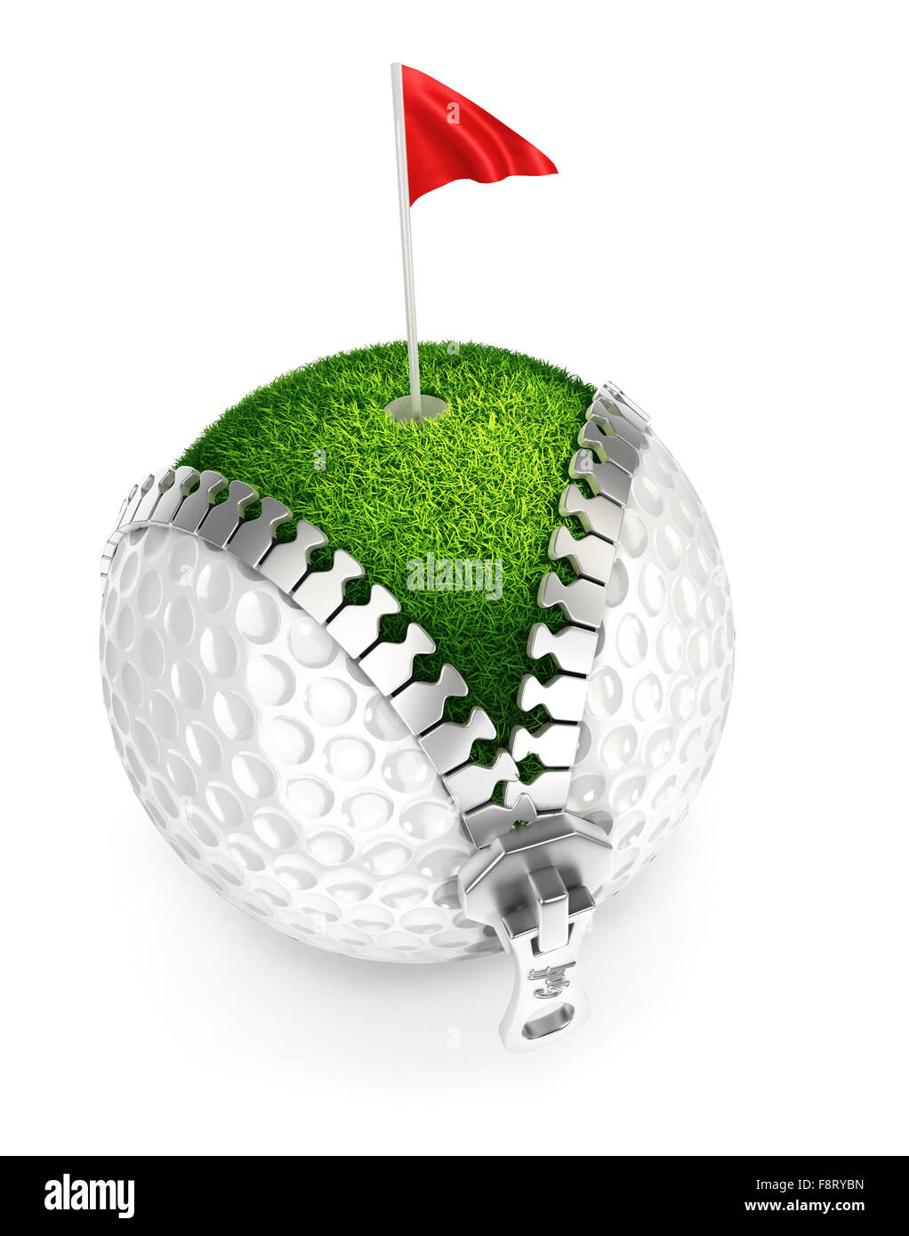 3d unzip golf ball concept, isolated white background Stock Photo