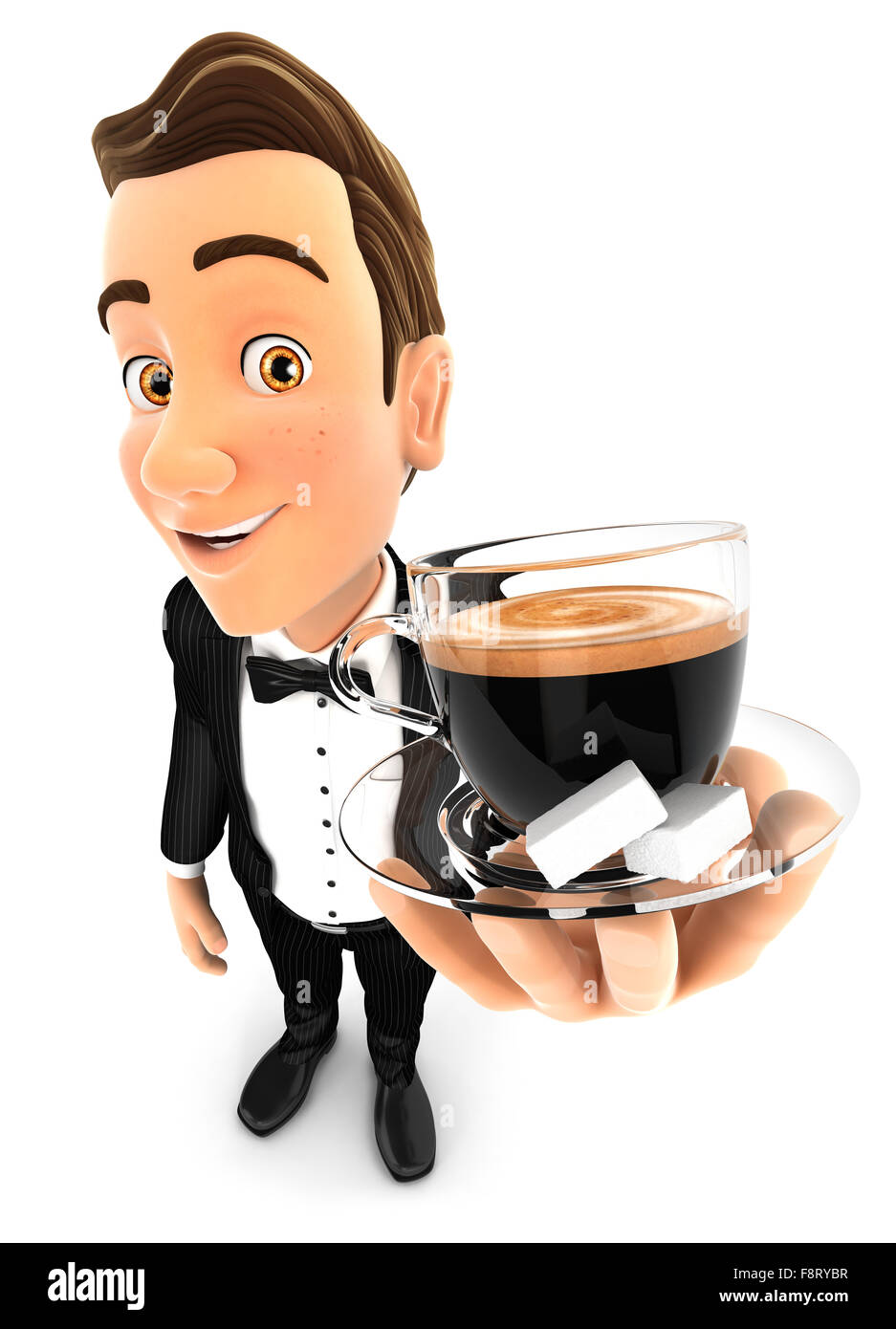 3d waiter holding a cup of coffee, isolated white background Stock Photo