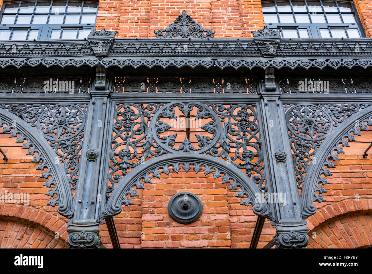 Architecural detail of a beautifully renovated old textile factory - Stock Image