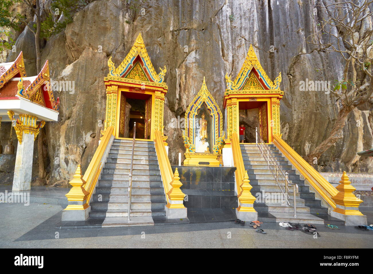 Thailand - Khao Yoi Buddhist Cave Temple, entrance to the cave - Stock Image