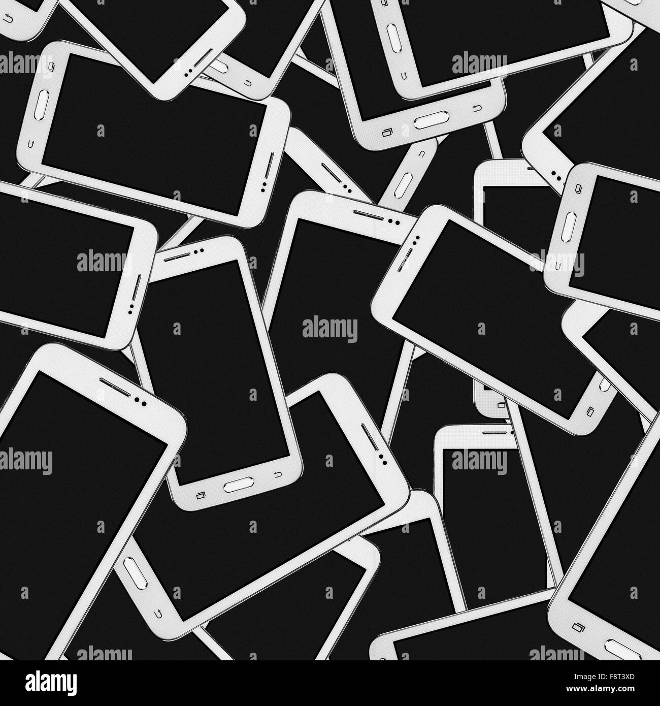 Modern mobile phone set abstract seamless geometrical patterns on a black background. - Stock Image