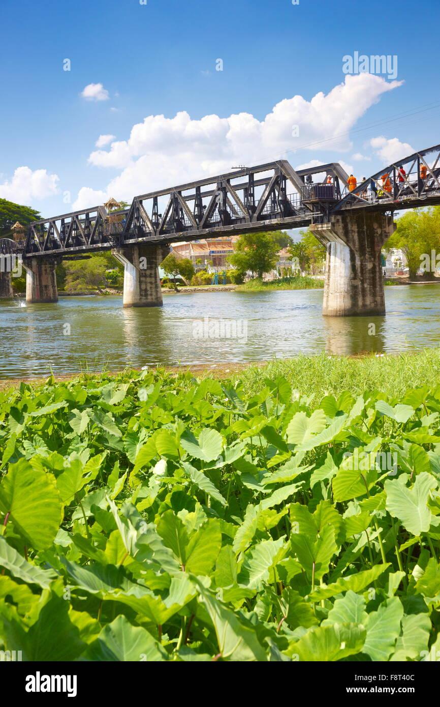 Thailand - Kanchanaburi, Bridge over the river Kwai - Stock Image