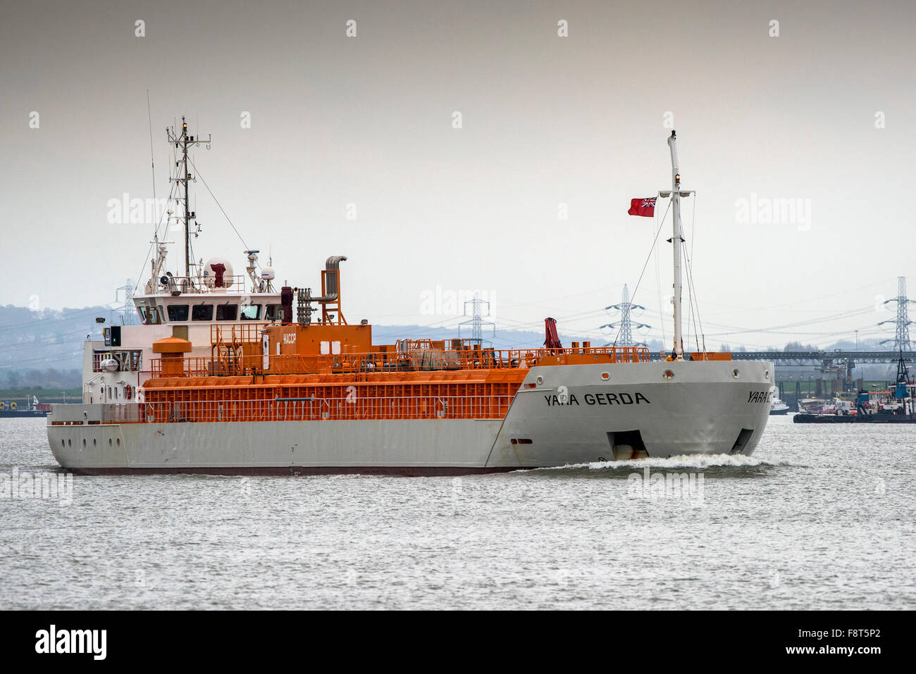 The CO2 tanker,Yara Gerda steaming upriver on the River Thames. - Stock Image