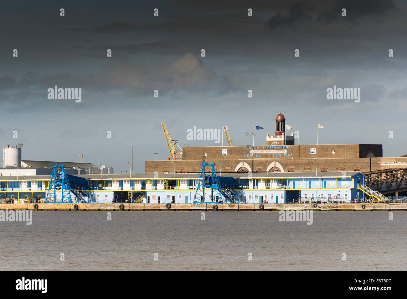 The London International Cruise Terminal on the Essex side of the River Thames. - Stock Image