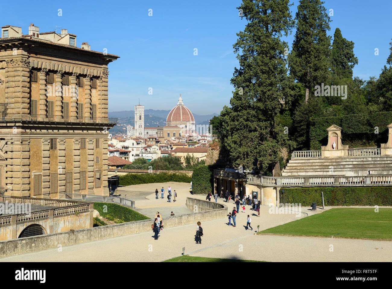 Florence. Italy. Pitti Palace & Boboli Gardens. - Stock Image
