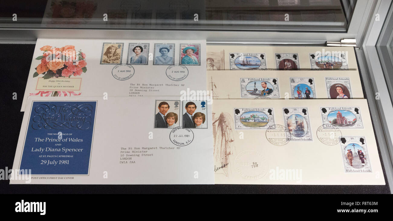 London, UK. 11 December 2015. The Prime Ministerial Stamp Collection, A Collection of Post Office Issued Stamps, - Stock Image