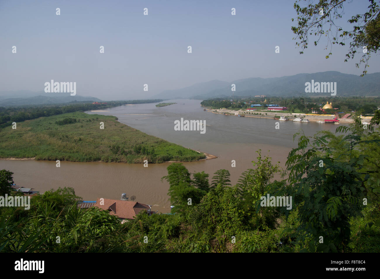 Mekong River at the Golden Triangle between Myanmar, Thailand and Laos Southeast Asia Stock Photo
