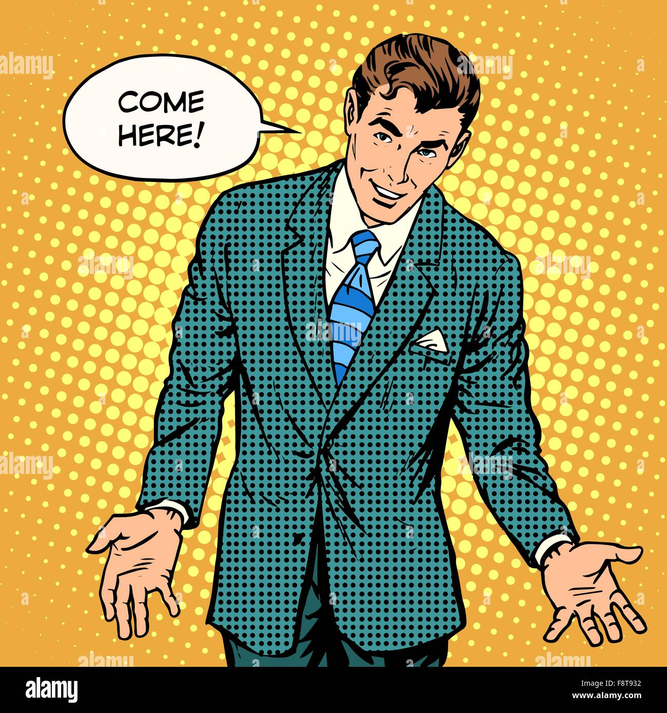 come here the man says - Stock Vector