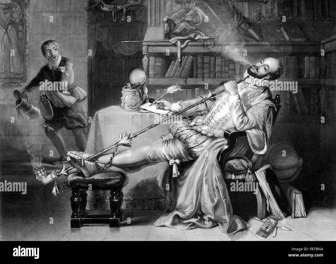Sir Walter Raleigh smoking tobacco from a Pipe in England - Stock Image