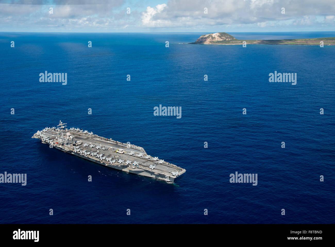The Nimitz-class aircraft carrier USS Ronald Reagan Stock Photo