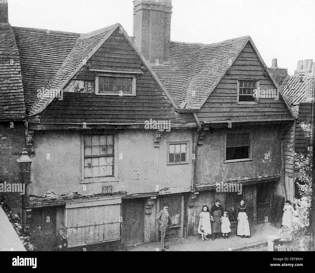 Sir Walter Raleigh's house at Blackwall, London. The house was demolished during construction of the Blackwall - Stock Image