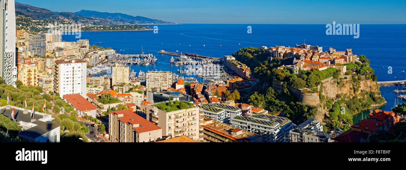 Monaco, over view of royal palace - Stock Image