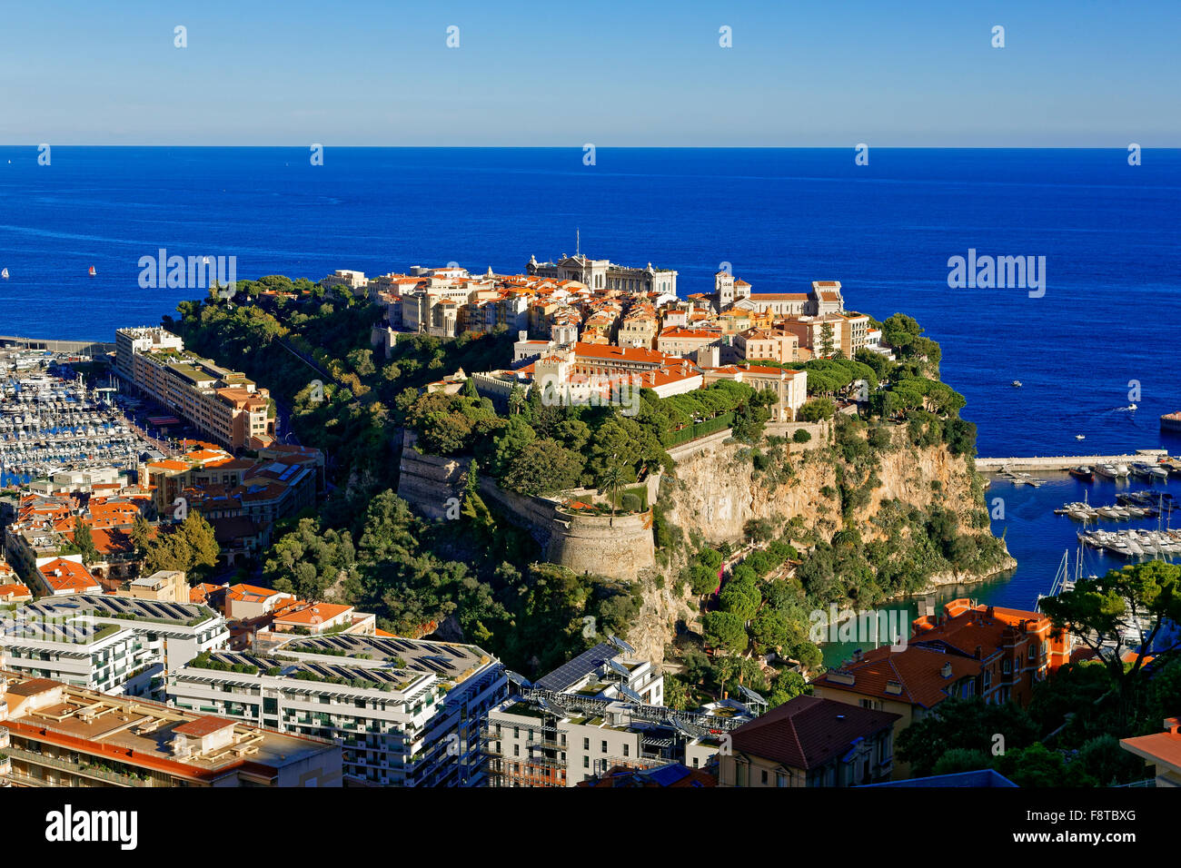 Monaco, Old town skyline with Royal Palace - Stock Image