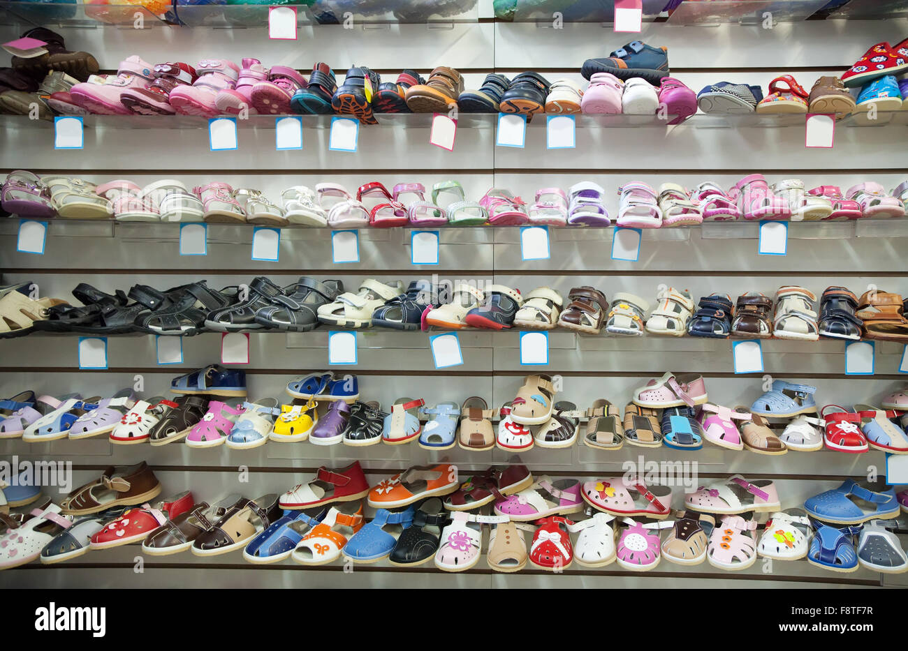 Counter with baby shoes at fashionable
