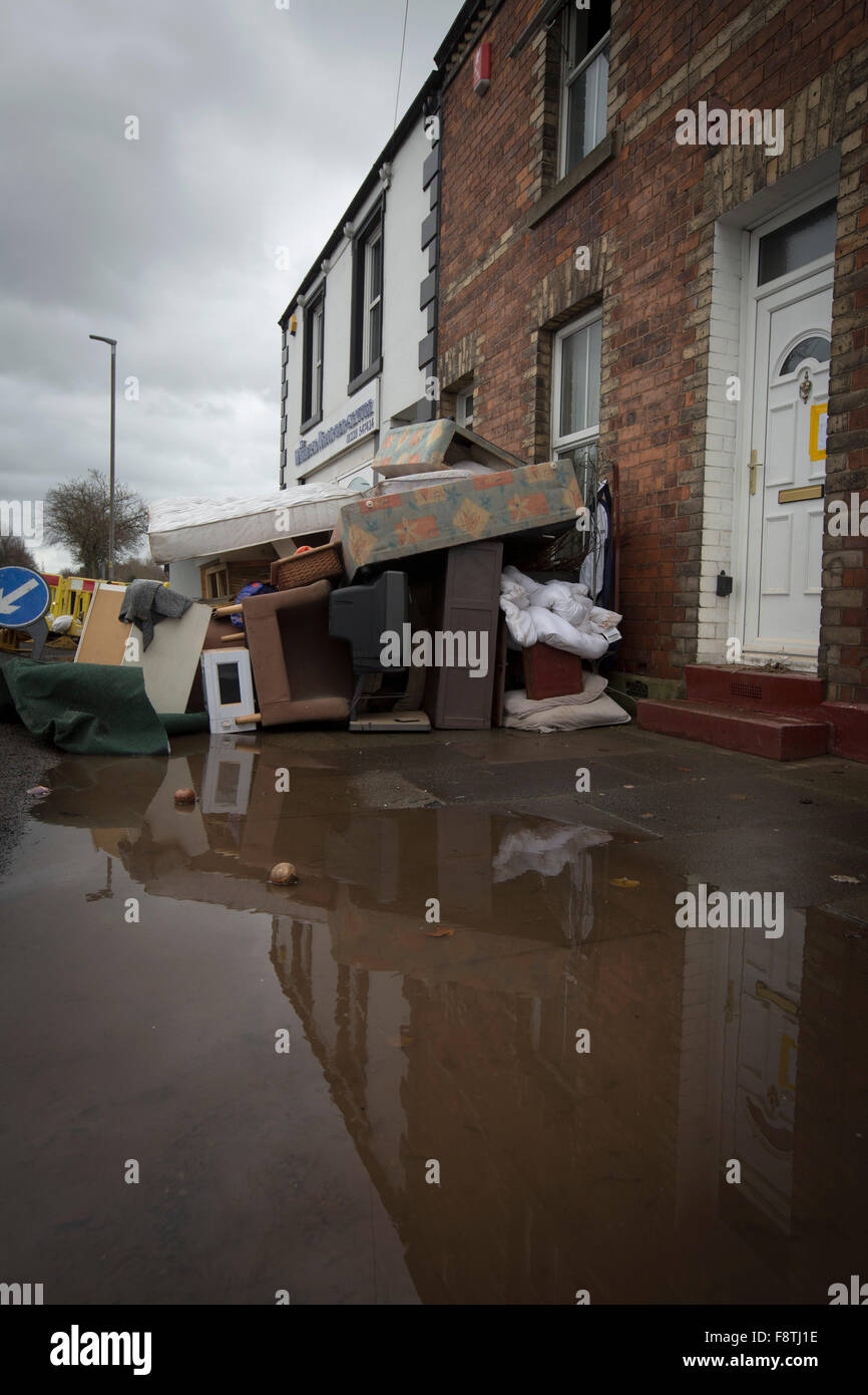 Furniture and other households goods damaged by flooding in Carlisle at the beginning of December, 2015. Record - Stock Image