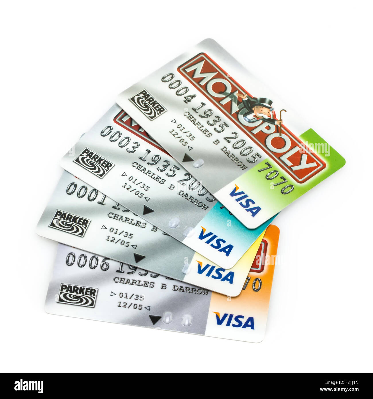 Group Of Four Monopoly Visa Credit Cards on a White Background - Stock Image