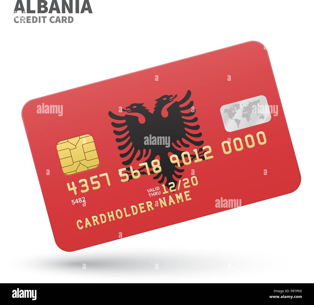 Credit card with Albania flag background for bank, presentations and business. Isolated on white - Stock Image