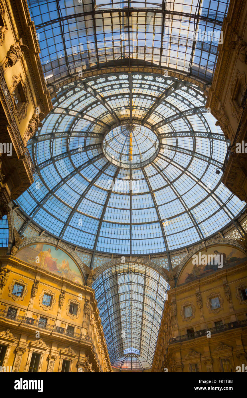 Milan, Milan Province, Lombardy, Italy.  Glass dome of Galleria Vittorio Emanuele II shopping arcade. - Stock Image