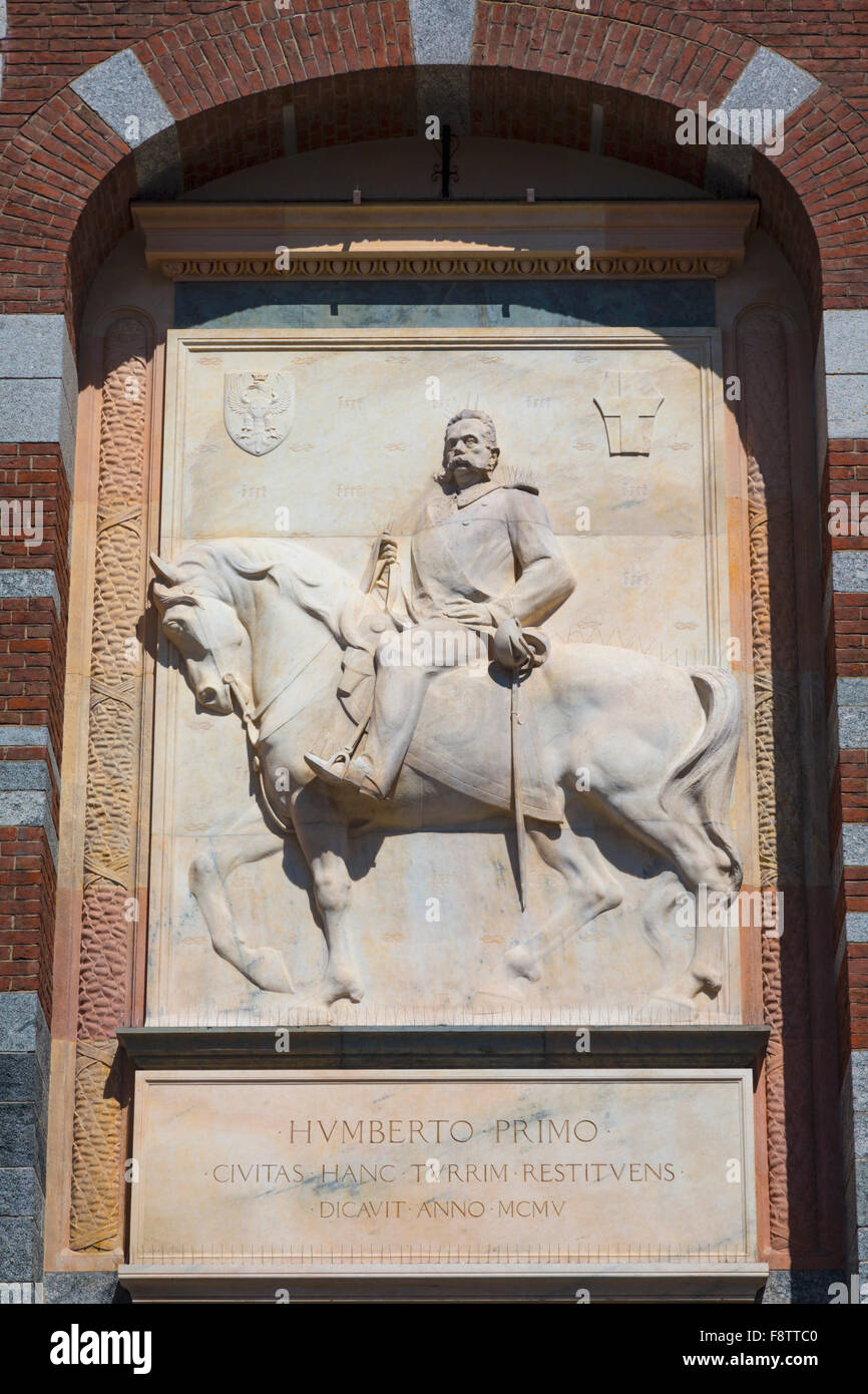 King Umberto I of Italy, 1844 - 1900.  Marble bas-relief by Luigi Secchi, 1853-1921 above entrance to Sforzesco - Stock Image