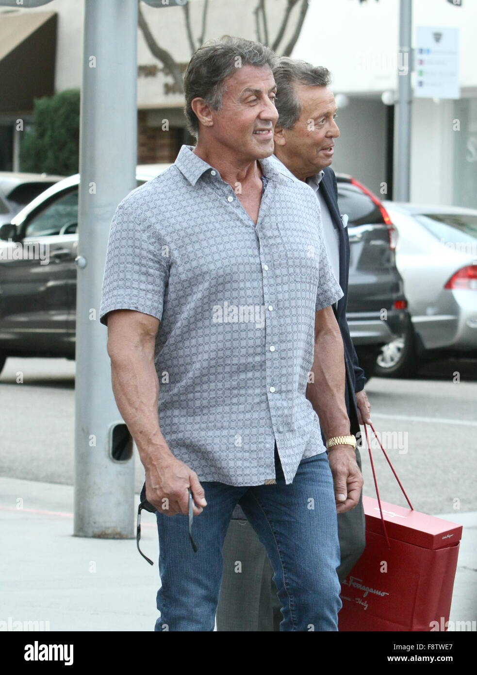 Sylvester Stallone Shop's With Friends - Stock Image
