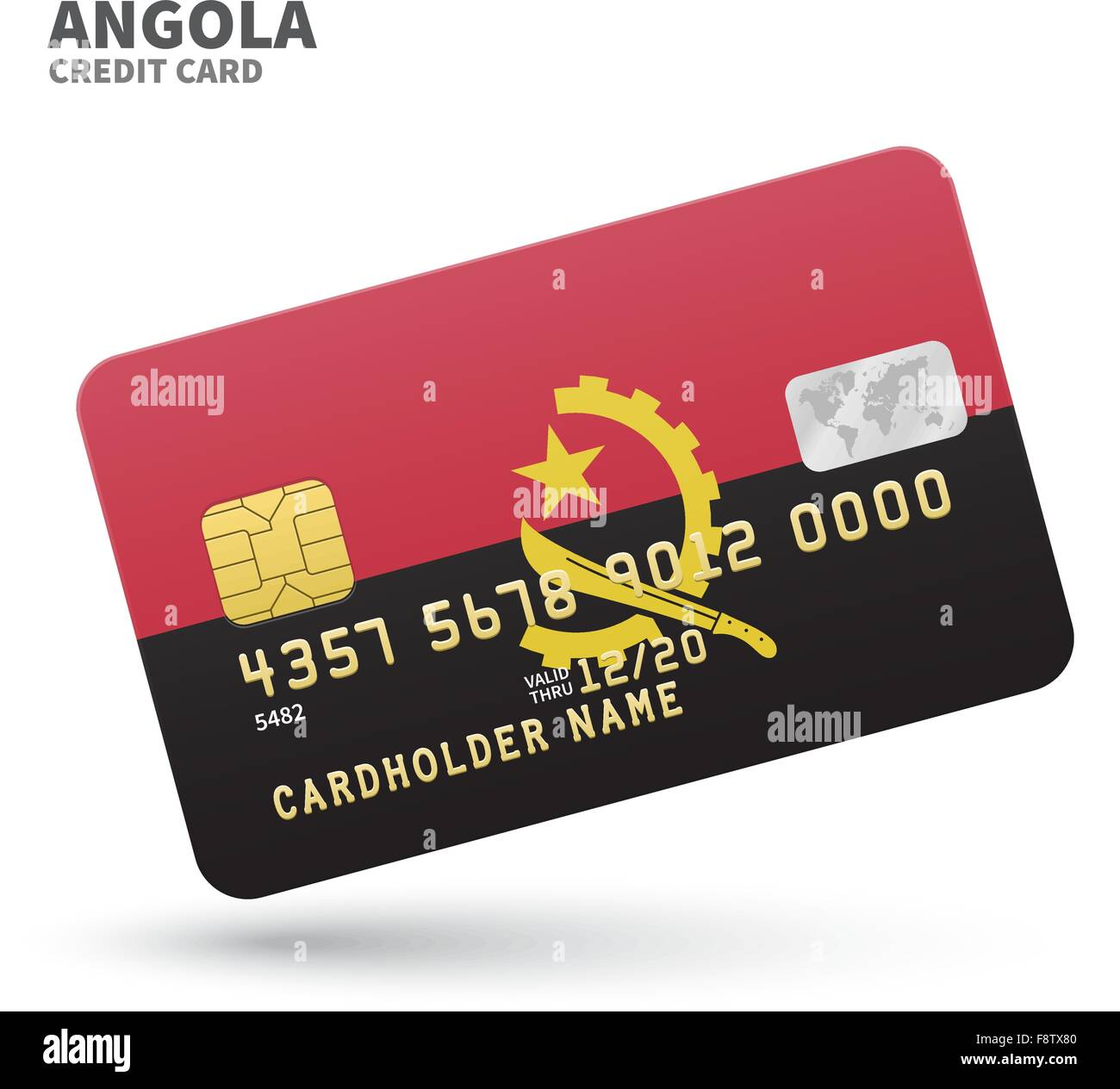 Credit card with Angola flag background for bank, presentations and business. Isolated on white - Stock Image