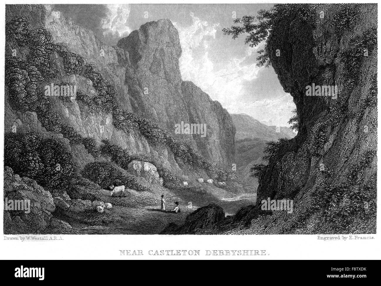 An engraving Near Castleton, Derbyshire  scanned at high resolution from a book printed in 1834. Believed copyright - Stock Image