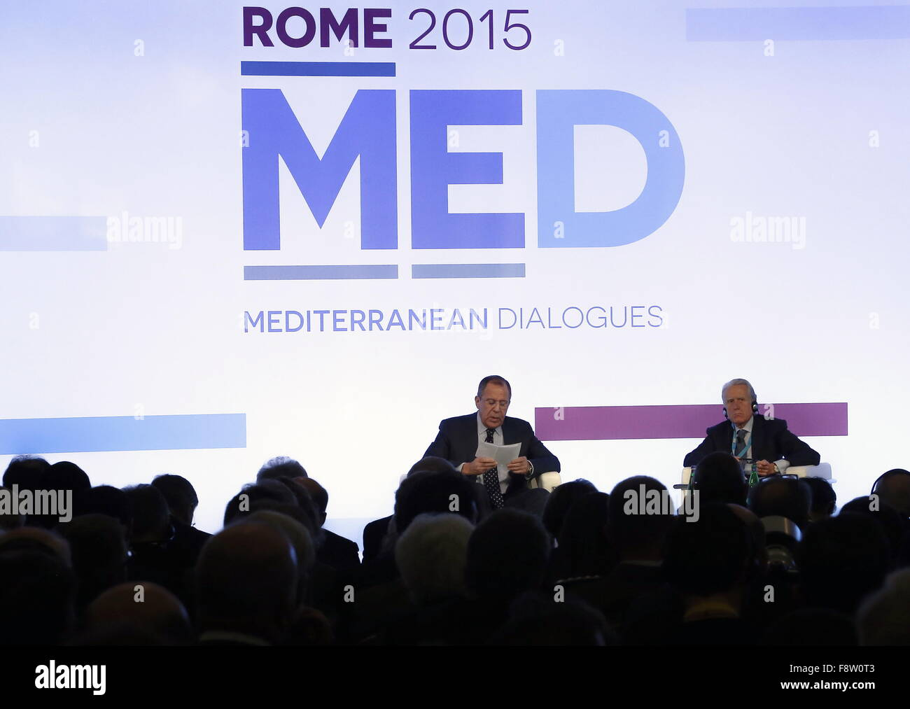 Rome, Italy. 11th Dec, 2015. Russia's minister of foreign affairs Sergei Lavrov (C) at the Mediterranean Dialogues - Stock Image