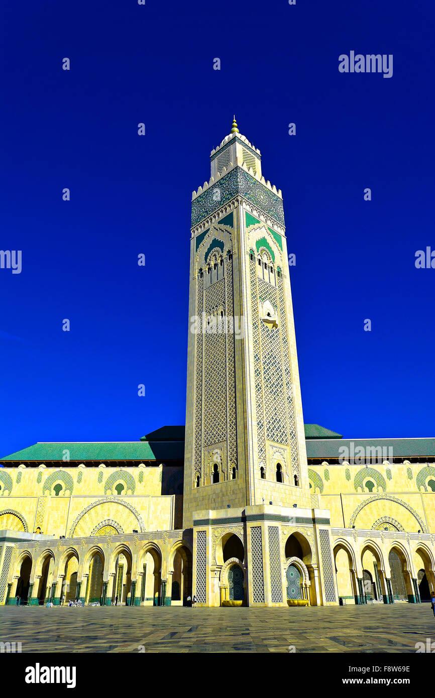 Casablanca Morocco Hassan II Mosque external view - Stock Image