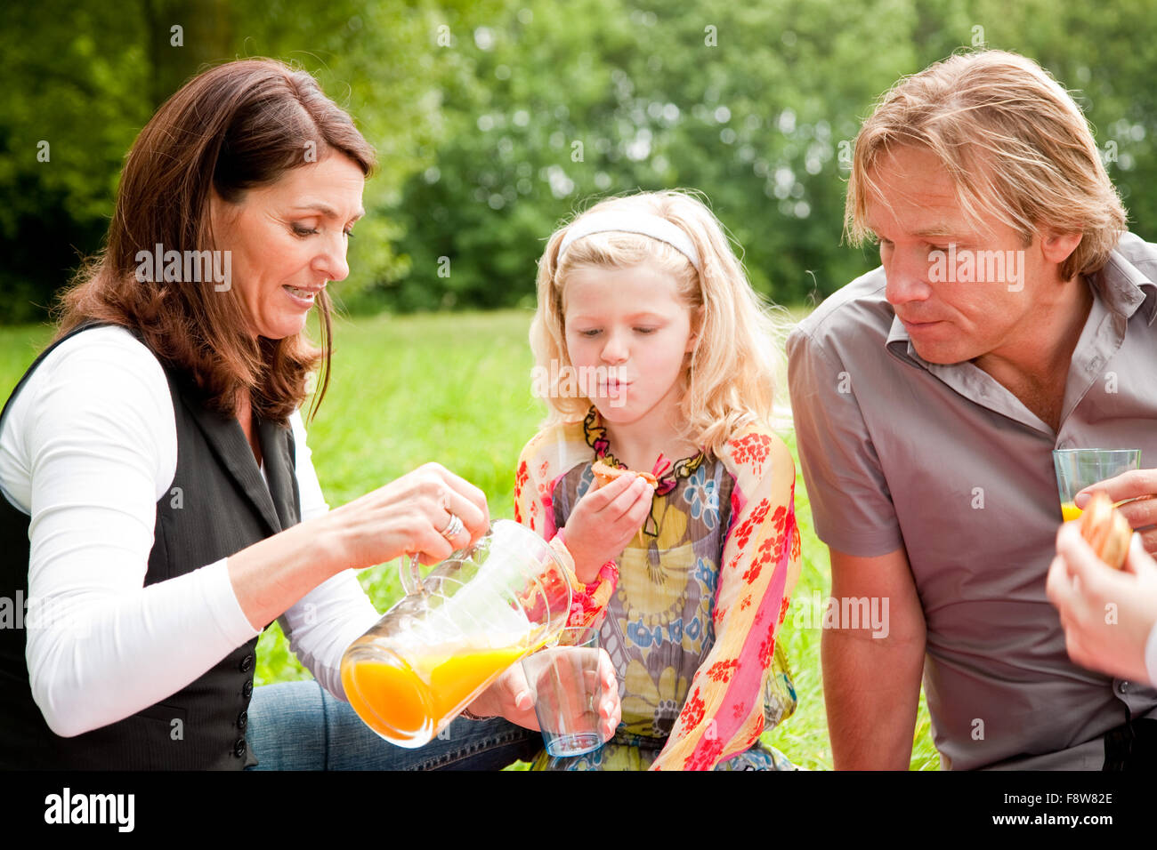 Outdoors family picnic - Stock Image